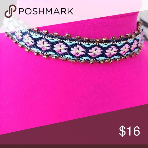 BLUSH AND BLUE EMBROIDERED CHOKER NECKLACE A BEAUTIFUL STATEMENT NECKLACE THAT YOU CAN CARRY ALL YEAR AROUND  BOHEMIAN STYLE IN A GORGEOUS AZTEC PRINT EMBROIDERY  16 INCHES LONG AND 3 INCHES EXTENSION TO ADJUST SIZE Alquimia Jewelry Necklaces