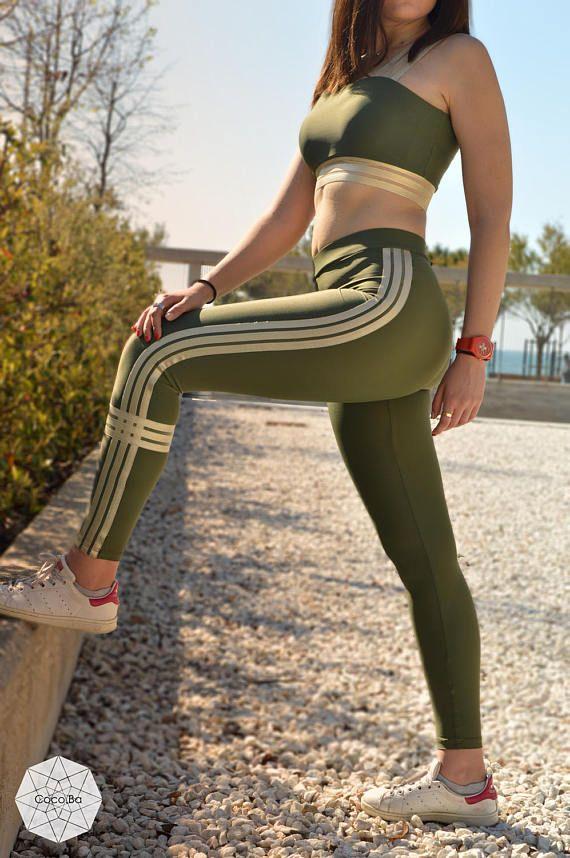 Woman Leggings Green Leggings Workout Leggings Yoga Pants