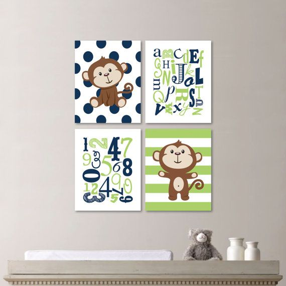 Baby Boy Nursery Art  This four-print set features two images of monkeys on a polka dot background and a striped background. The set also