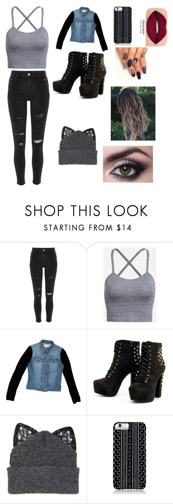 """""""Untitled #69"""" by paigebff ❤ liked on Polyvore featuring River Island, J Brand, Silver Spoon Attire, Savannah Hayes and Smashbox"""
