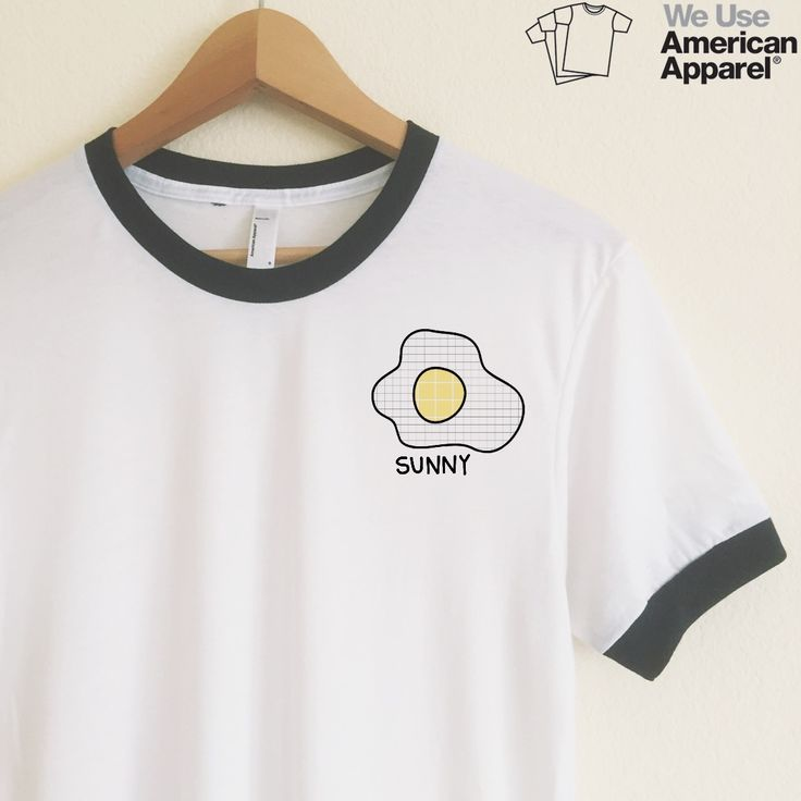 Sunny side up! Eggs are so cute :) We use authentic American Apparel ringer tees.   Our ringer tees are a staple to any girl's closet, adding a touch of grunge. They look great styled casually with jeans and boots, or dressed up with a cute plaid skirt.  Unlike other Poly-Cotton t-shirts on the market, ours is made with combed cotton, giving it an ultra soft, worn in feel and superior drape.