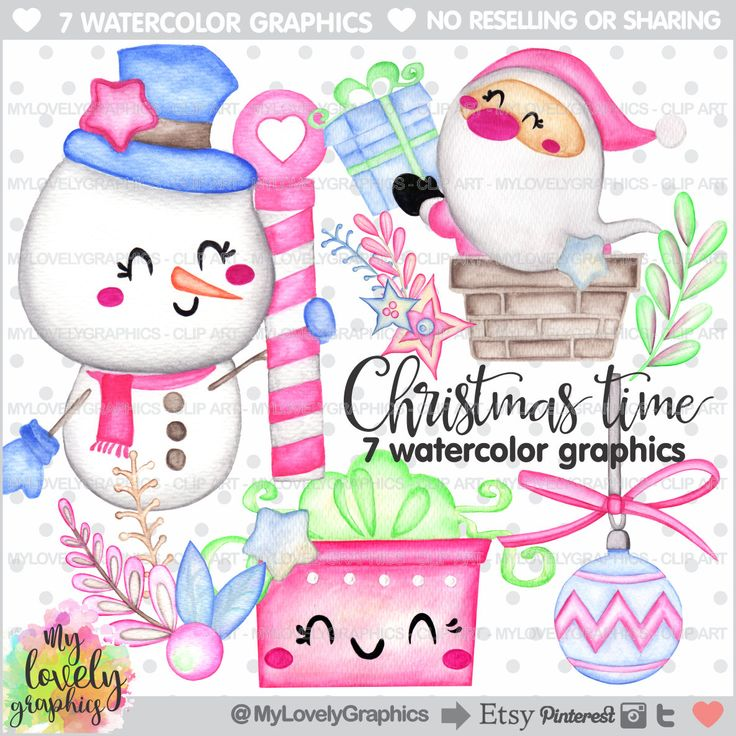 75%OFF - Christmas Clipart, Christmas Watercolor, COMMERCIAL USE, Santa Claus Clipart, Christmas Graphic, Kawaii Clipart, Watercolor Clipart