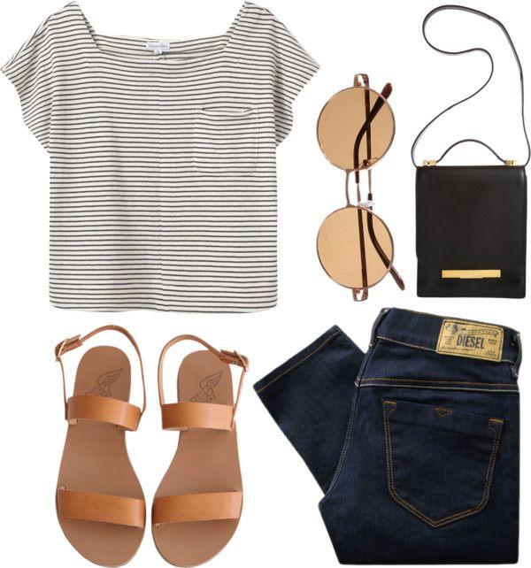 black + white striped shirt // black jeans // black + tan sandals