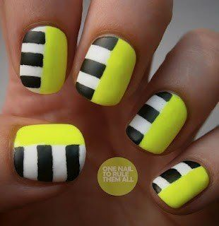 Neon yellow with grey and white stripes nail design