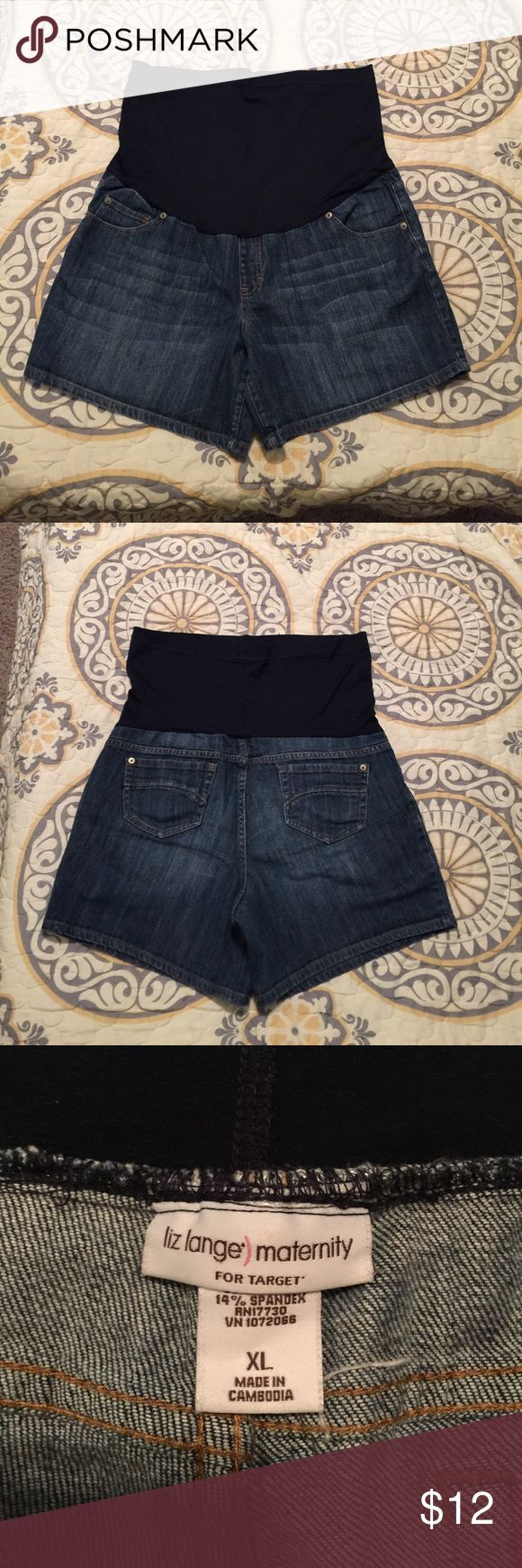 Liz Lange blue jean maternity shorts Full panel Liz Lange blue jean maternity shorts. Excellent condition. Size XL Liz Lange for Target Shorts