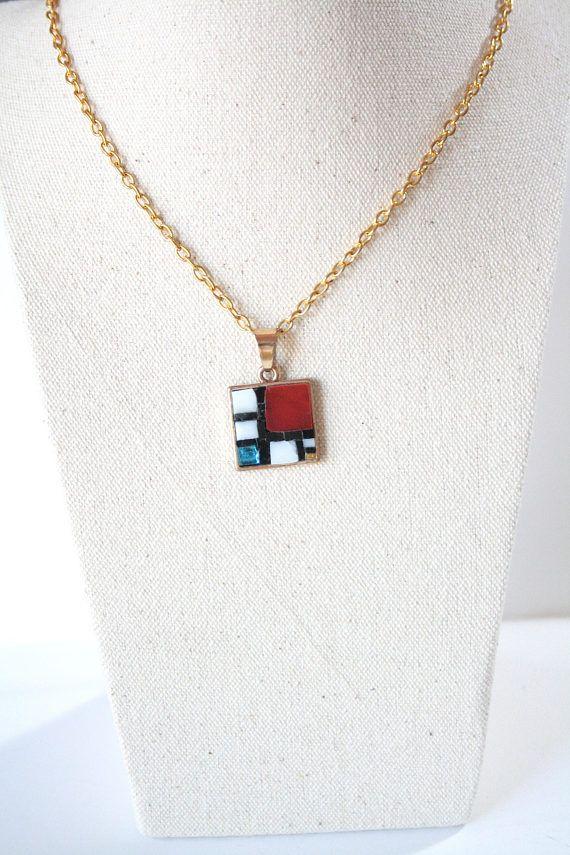 Mondrian / collana lunga con micro mosaico / micromosaico /