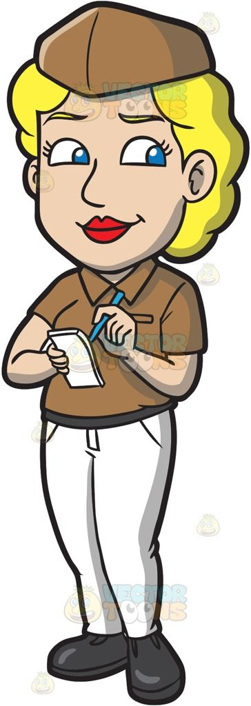 A female fast food worker taking orders :  A woman with curly blonde hair wearing a brown cap polo shirt dark gray belt and shoes white pants smirks while holding a white notepad in her right hand and a blue pen in her left hand  The post A female fast food worker taking orders appeared first on VectorToons.com.