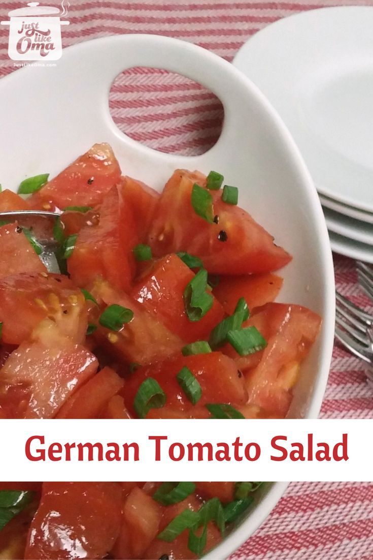 Super simple :tomato: tomato salad is sure to please. The simple :flag_de: dressing will brighten even green-house ripened winter tomatoes.   Recipe: http://www.quick-german-recipes.com/tomato-salad-recipe.html  ~ Oma Gerhild :heart:
