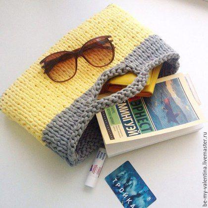 """Knitted handbag / Женские сумки ручной работы. Ярмарка Мастеров - ручная работа. Купить """"Авоська"""" mini. Handmade. Желтый, сумочка ручной работы"""
