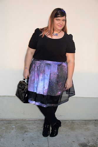 Outfit gonna galassia #sewing #plussize #plussizesewing #diy #handmadeskirt