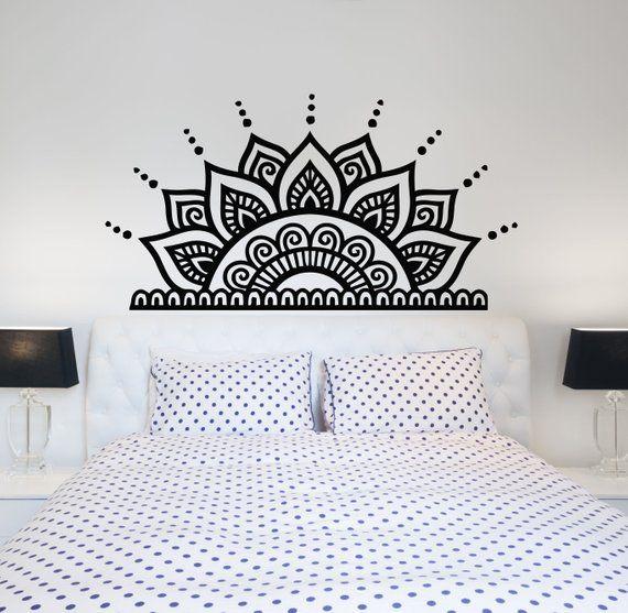 Headboard Wall Decals Bedroom Half Mandala Vinyl Sticker Etsy Wall Decals For Bedroom Headboard Wall Decal Headboard Wall