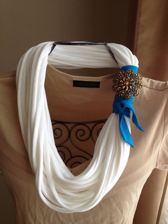White recycled/upcycled t shirt necklace by gwenandferolscloset, $30.00: