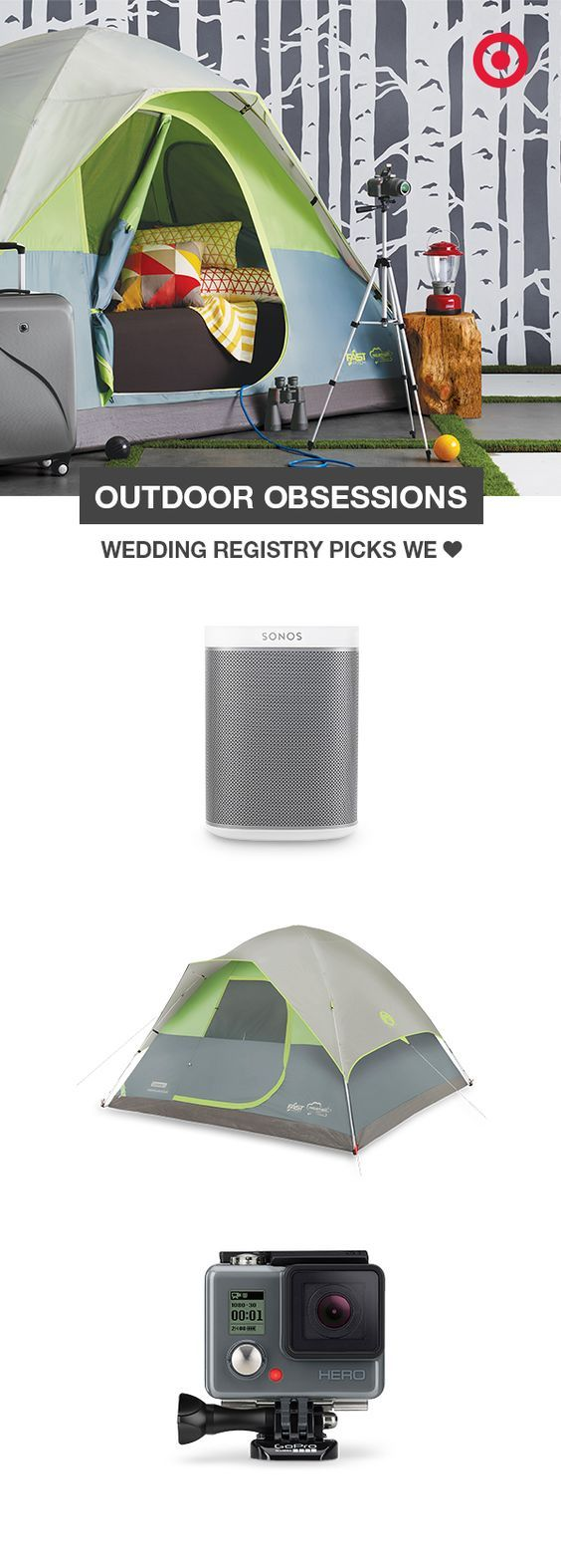 Wedding registry must-haves for the adventuresome couple: a Sonos Play:1 to enjoy your travel playlist from anywhere. A Coleman Fast Pitch 5-person tent that sets up in a flash. And a GoPro Hero camera to capture every single heart-stopping, thrill-packed moment. #outdoor #tent #camping #outdoors #weddinggiftideas #giftideas #summer #spring #outdoor #summerideas #affiliate #target