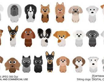 Sitting dogs part 3 digital clip art for Personal and Commercial use - INSTANT DOWNLOAD