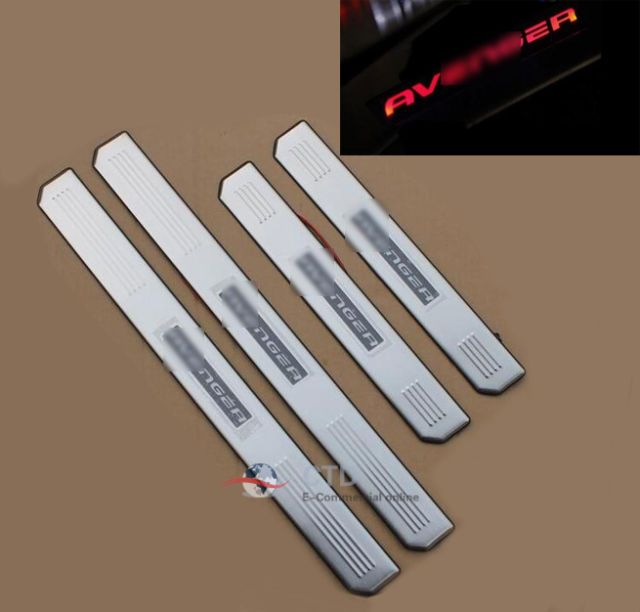 4 Door Red LED Stainless Scuff Plate Door Sill Guard For Dodge Avenger 2008-2015