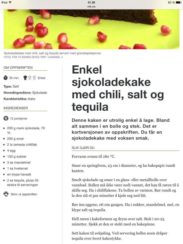 Sjokoladekake med chili  (fra NRK mat)