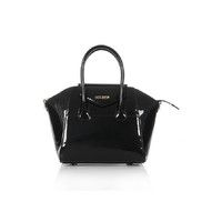 'Melrose' Patent Black Real Leather Top Handle Bag