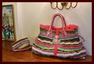 uncinetto moda e fantasia:  borsa multicolore rafia cotone e voal georgette c...