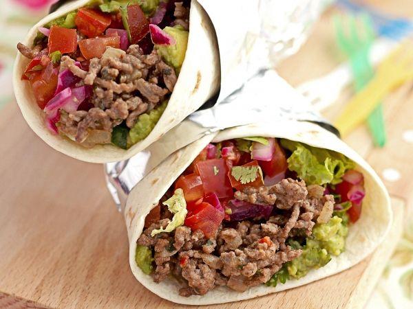 Burritos au haché de bœuf et guacamole