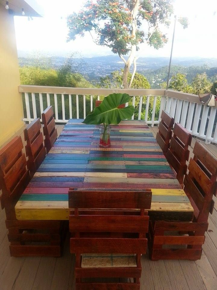 Dinner table for 8 made in pallets