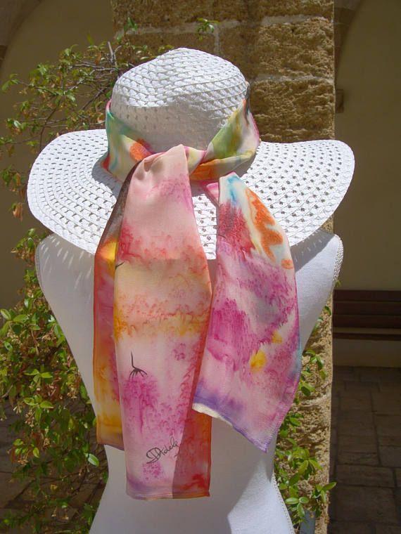 Sciarpa di seta dipinta a mano tecnica libera idea regalo