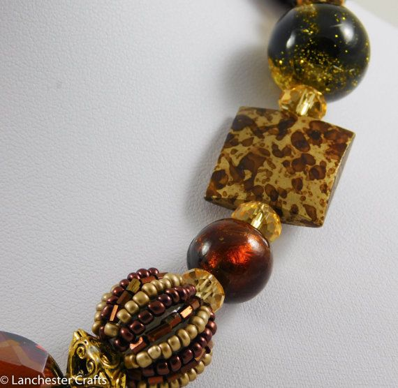 Chunky Brown Shades Necklace and Earrings by LanchesterCrafts