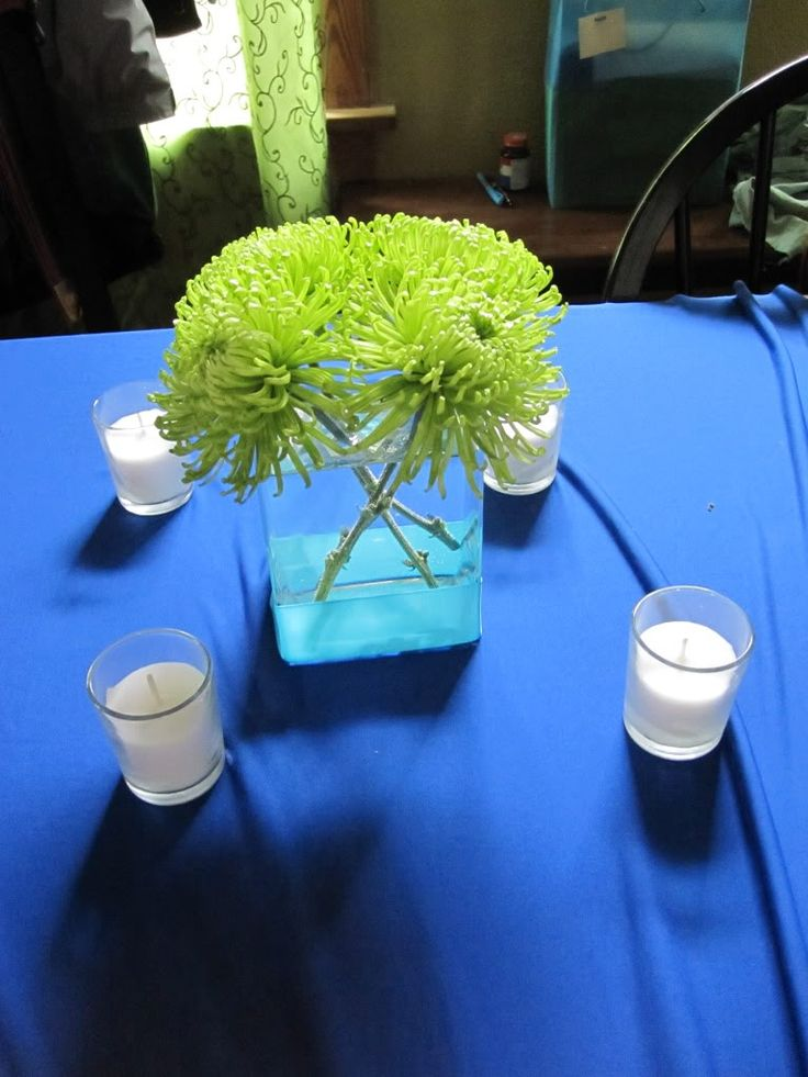 royal blue and silver wedding centerpieces%0A fuji mums hydrangea Green Wedding Centerpieces Ideas