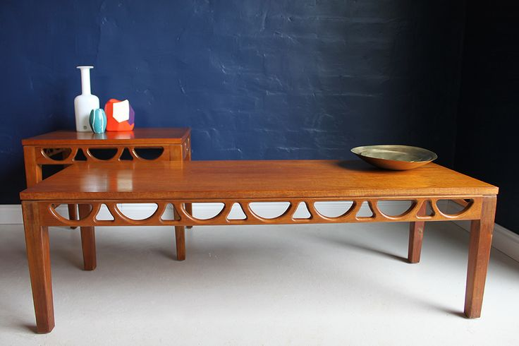 Avalon mid-century 1960s teak coffee and side table, side view