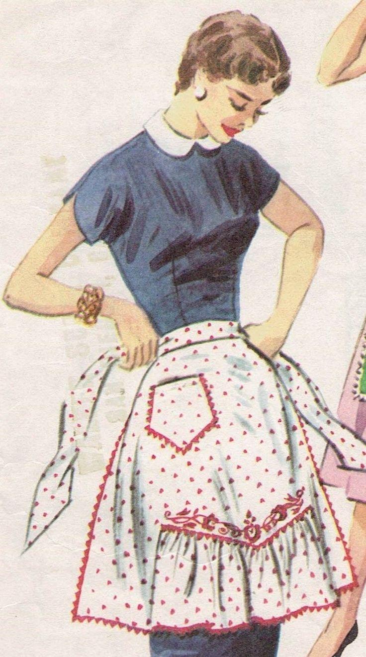 White half apron walmart - Vintage 1944 Mccall 1124 Sweetheart Bib Or Gathered Point Half Apron Pattern M