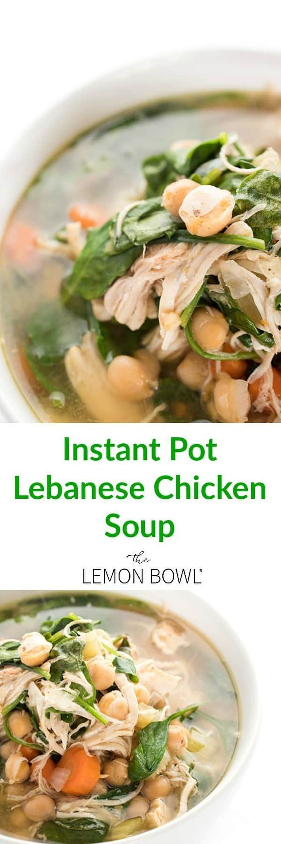 Lebanese chicken soup is ready in no time thanks to the instant pot. Filled with chick peas, lemon juice, cinnamon and spinach, this chicken soup recipe is naturally gluten free.