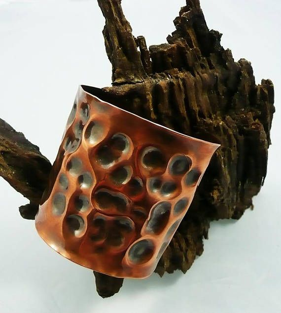 Wide Hammered Copper Cuff Bracelet ModernMetal ArtisanMade