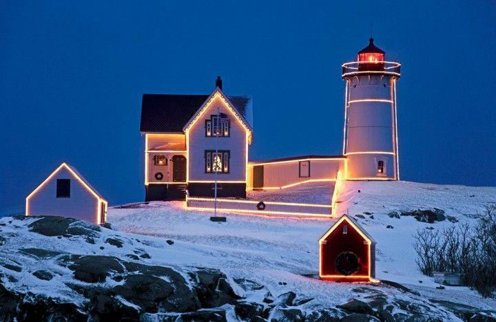 Maine's Cape Neddick Light casts a welcome radiance across land and sea