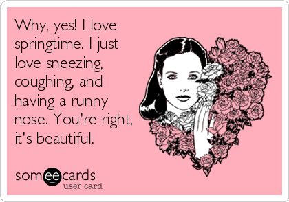 Why, yes! I love springtime. I just love sneezing, coughing, and having a runny nose. Youre right, its beautiful.
