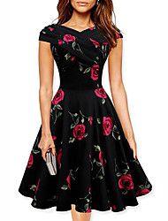 De las mujeres Línea A Vestido Vintage Floral Hasta la Rodilla Escote Barco Algodón