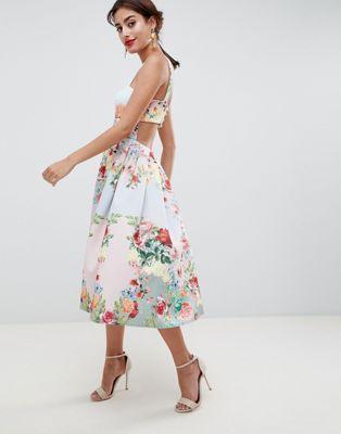 addd680c83 ASOS DESIGN square neck floral scuba prom dress at asos.com