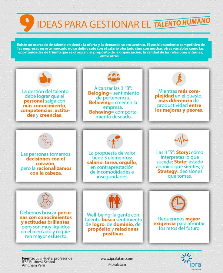 Conoce 9 ideas para gestionar el #TalentoHumano dentro de una empresa.