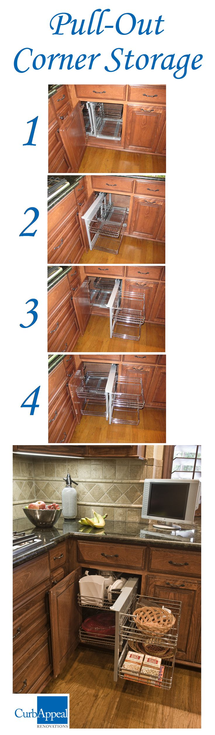 "This corner storage shelving unit helps you maximize storage space in your kitchen! It holds a lot more than a circular ""lazy susan"", and is very easy to glide in and out of the cabinet."