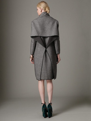 Textured Wool Drape Back Coat