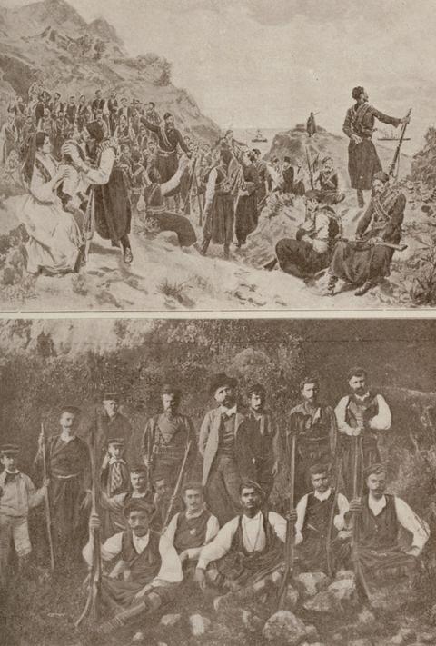 """Κρητικοί εξεγερμένοι (φωτογραφία από άρθρο του ανταποκριτή της """"Illustration Italienne""""). Ομάδα εξεγερμένων στη διάρκεια του κινήματος στο Θέρισσο. Στο κέντρο ο Ελευθέριος Βενιζέλος, στα δεξιά του οι δύο μικροί γιοι του. VAN DEN BRULE, Alfred. L'Orient Hellène. Grèce-Crète-Macédoine, Παρίσι, Félix Juven [1907]. Ελληνική Βιβλιοθήκη - Κοινωφελές Ίδρυμα Αλέξανδρος Σ. Ωνάσης"""