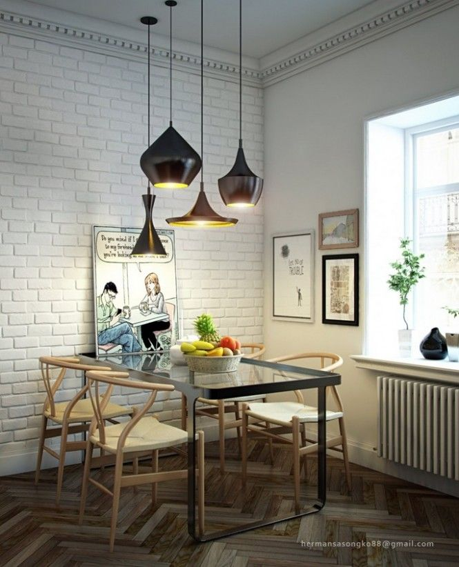 Black Dining Table Lighting And White Brick Wall In Awesome Room Design