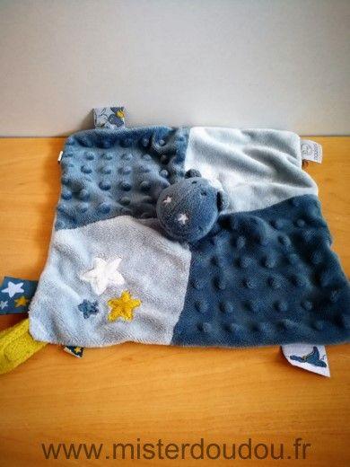 Doudou Dragon Moulin roty Bleu etoiles attache tetine