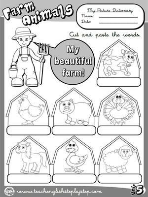 Farm  Animals - Picture Dictionary (B&W version)
