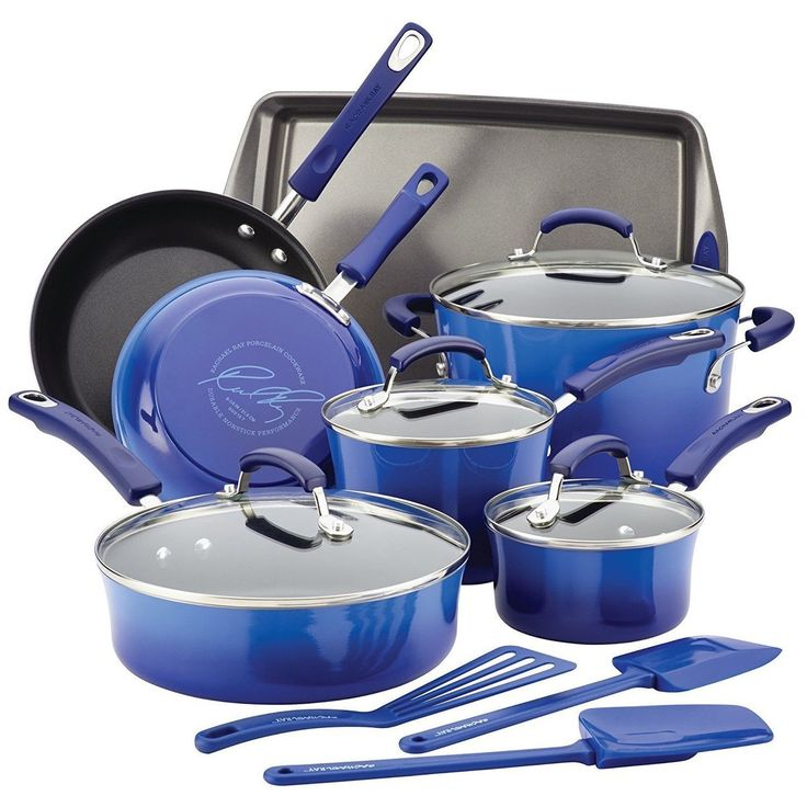 RACHAEL RAY Porcelain Nonstick 14-Piece Cookware Set - Blue Gradient $95 - FREE SHIPPING OR PICK UP - COMPARE ELSEWHERE $150+) InterexHome.Com