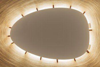 Le concept se définit par une façade sans fenêtres et un éclairage zénithal périphérique.