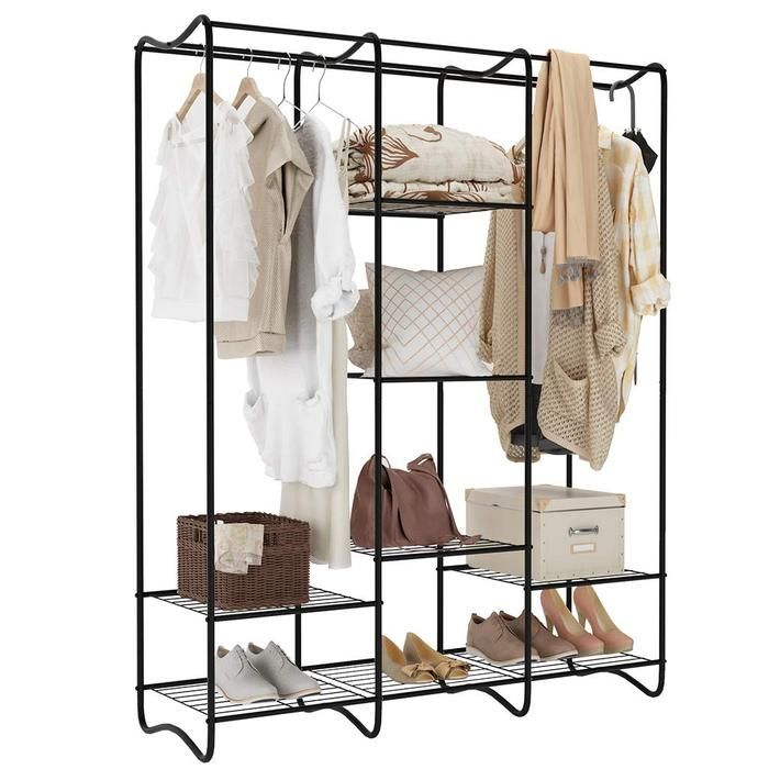Large Iron Standing Closet Garment Rack With Rods And Shelves In 2020 Free Standing Closet Standing Closet Clothes Storage Organizer