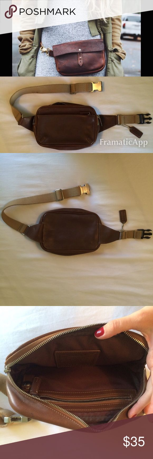 Coach Brown Leather Fanny Pack Coach brown leather fanny pack. There is an external pocket and an internal pocket. Both pockets have zippers. Waistband is adjustable. Great for music festivals! Coach Bags