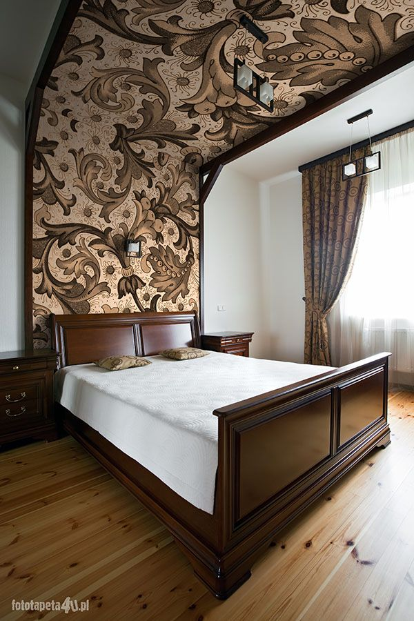 Luxury bedroom interior with wallpaper. Old style!