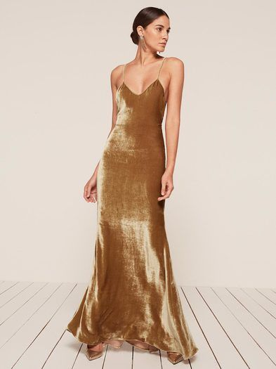 You're not a cupcake. #refbride This is a floor length, slip dress with an open back and a slight v neckline.