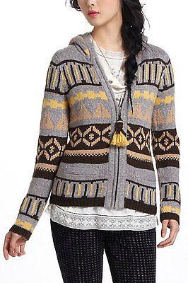 Fairisle Hooded Sweater M Anthropologie Grey Sparrow Hood Wool Zipper Acryli   eBay