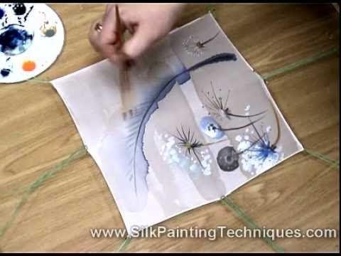 Silk Painting Dandelions - YouTube. Silk painting on an antifusant.